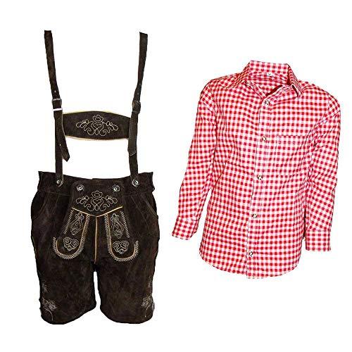 MS-Trachten Trachtenset Kinder Lederhose Trachtenhose mit Hemd (140, rot-kariert)