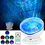 LOBKIN Remote Control Touch Sensor Ocean Wave Sound Projector Build-in Speaker, Moon Light White Noise Machine Gift for Sleeping Baby Nursery, Bedroom Space Decor,Star Galaxy Night Light Kids Adults