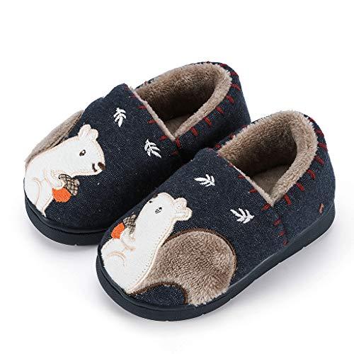 Kinder Baby Jungen Mädchen Winter Pantoffeln Slippers Schuhe mit Plüsch gefüttert Wärme Weiche Rutschfeste Hausschuhe Stiefel Booties Schneestiefel Slippers Outdoor Freizeit Schuhe (Navy, 2-2.5Y)
