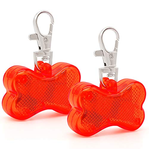 Higo LED Dog Tags, 2 Pack Bone-Shape Clip-On Light Up Pet ID Pendents, Glow in The Dark Dog Safety Collar Lights for Night Dog Walking (Red)