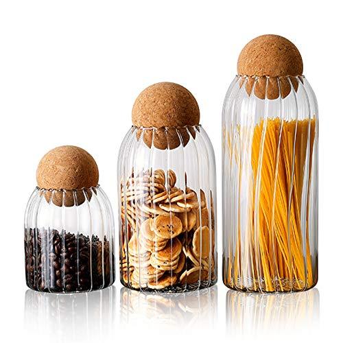 FOVERN1 Glasbehälter mit luftdichtem Verschluss Holzdeckel Kugel, Behälter-Sets für Küchentheke, Vorratsgläser für Tee, Kaffee, Gewürze, Zucker, Salz (Größe S/M/L) ...