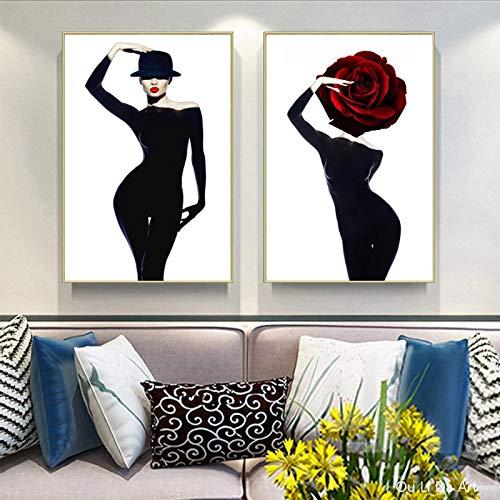KWzEQ Minimalistische nordische Mode Frau Kunstdruck Poster Leinwanddrucke Ölgemälde Wanddekoration50X75cmmx2Rahmenlose Malerei