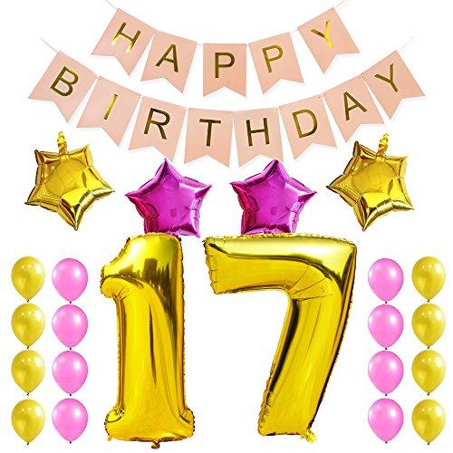 KUNGYO Dulce Fiesta de Cumpleaños Kit Decoraciones Happy Birthday Bandera Rosada Número 17 Mylar Foil Globo Cumpleaños de 17 Años