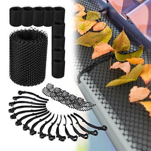 Relaxdays 10 x Dachrinnen Laubschutz, je 6 m lang, Kunststoff Laubgitter, Gesamtlänge 60 m, Laubfangstreifen für Regenrinnen, schwarz