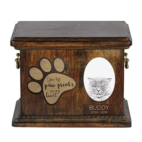 ArtDog - Urna para Cenizas de Gato Plegable, con Placa de cerámica...