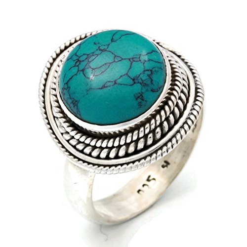 Türkis Ring 925 Silber Sterlingsilber Damenring grün blau (MRI 126-15), Ringgröße:58 mm/Ø 18.5 mm
