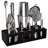 Highball & Chaser Premium Bartender Kit with Espresso Bamboo Stand Beautiful Cocktail Shaker Set with Bar Tools Stainless Steel Boston Shaker Bartender Kit with Stand (Silver)