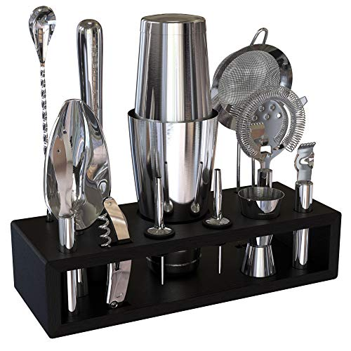 Highball & Chaser Bartender Kit with Espresso Bamboo Stand Cocktail Shaker Set with Bar Tools Stainless Steel Boston Shaker Bartender Kit with Stand (Silver)