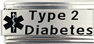 Type 2 Diabetes Medical Alert Italian Charm Bracelet Jewelry Link