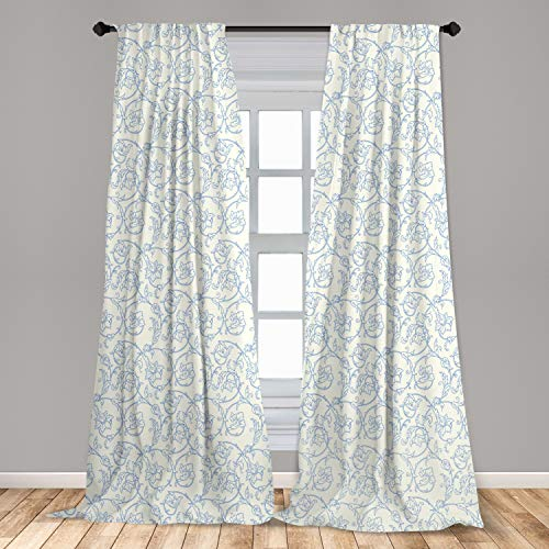 "Ambesonne Floral Curtains, Flower Orchids Bohemian Style Vintage Petals Vines Pattern French Country Style, Window Treatments 2 Panel Set for Living Room Bedroom Decor, 56"" x 84"", White Blue"
