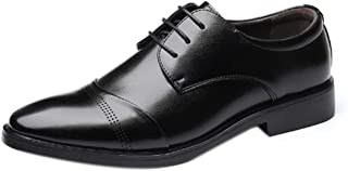 Aiweijia Men's Leather Shoes Modern Classic Leather Business Suits Lined Perforated Dress Oxford Strap Leather Shoes