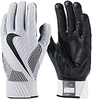 Nike D-Tack Hydragrip Full Protection Football Defensive Linesman Gloves (White Black Wolf Grey) Adult 3XL