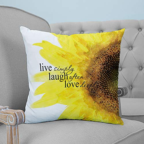 ARTSHOWING Pillow Covers Floral 20x20 inches Canvas Couch Throw Pillows Zippered Square Pillow Case for Home Bedroom Living Room Cushion Cover Live Simply Laugh Often Love Deeply with Sunflower