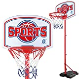 GQMNL Portable Basketball Hoop Teenager Basketball Rack Iron Shot Frame Outdoor Lift Children Basketball Stand Mini Hoop Basketball System Stand (Color : Red, Size : 1.60-2.15m)