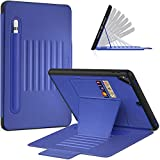 Timecity iPad Pro 9.7 Case, iPad 6th/5th Generation Case,Very Protective But Convenient Magnetic Stand + Smart Sleep/Wake + Elastic Apple Pencil Pocket + Card Holder Cover for iPad Air 2 - Navy Blue