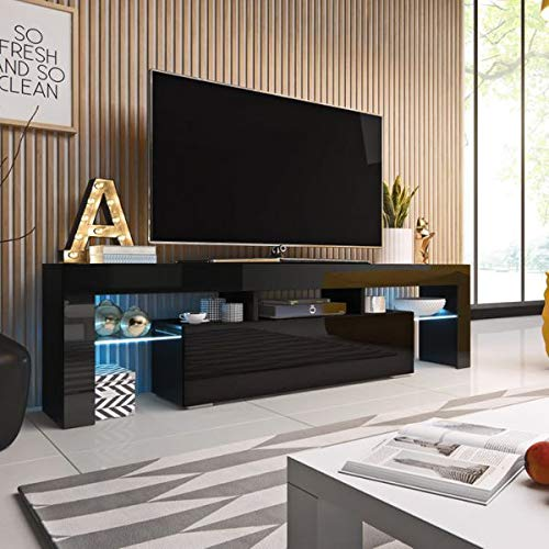 Jadella TV Board \'Soro II\' Hochglanz Lowboard Cube Matt HiFi Fernsehschrank mit LED, Farbe:schwarz matt/schwarz Hochglanz