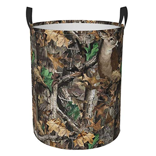 KUOAICY Camo Deer Camouflage Hunting Circular Storage Bin Organizer Round Basket for Laundry Hamper Bedroom Clothes Small