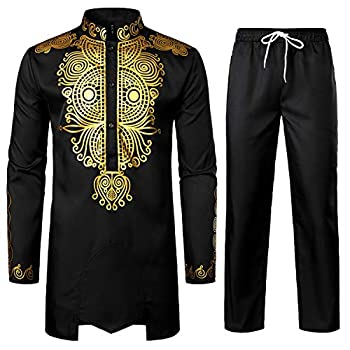 LucMatton Men s African 2 Piece Set Long Sleeve Gold Print Dashiki and Pants Outfit Traditional Suit Black Gold X-Large
