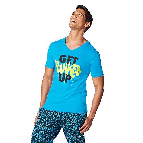 Zumba Fitness Get Funked Up V Neck Camiseta, Hombre, Verde, XS