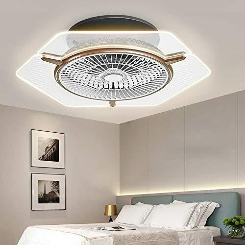 Ventilador de techo LED con iluminación, 3 colores, velocidad del viento ajustable con mando a distancia, 48 W, moderno, ultrasilencioso, para dormitorio, salón, diámetro de 56 cm, color blanco