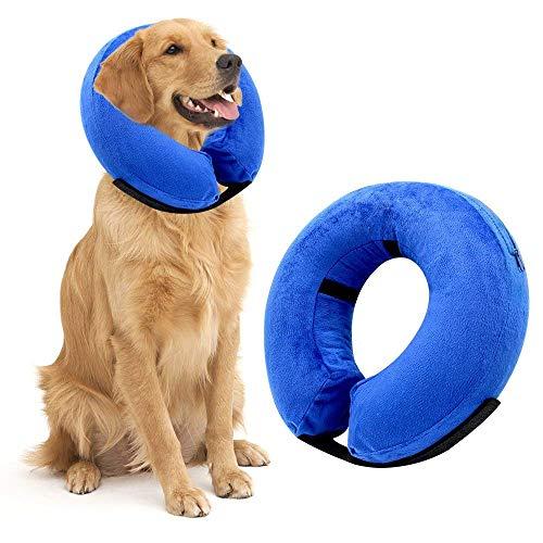 Berg Store Aufblasbarer Halskragen für Haustier Hund Katze Bequemer Schutzkragen Halskrause Recovery Collar mit Verstellbare Reißverschluss für Haustier L- Blau