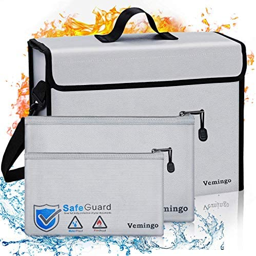 Vemingo Fireproof Bags Fire Safe Storage Bag Waterproof Fire Resistant Document Bags Holder product image