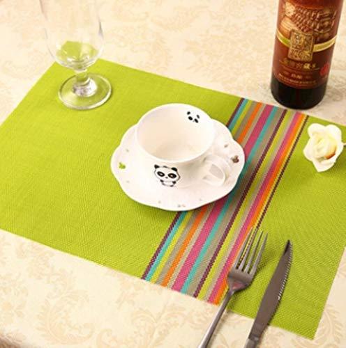 Table Mat 1pcs Europa Style PVC Comedor Accesorios de cocina Raya Rectangulo Manteles individuales para mesa 30 * 45cm Coas de aislamiento antideslizante, R