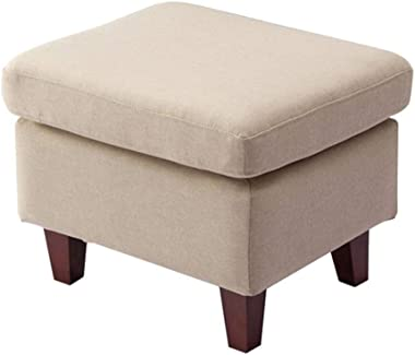 Footstool Change Shoe Stool Square Ottomans Padded Footrest with Wooden 4 Legs Linen Fabric Seat Available in Beige