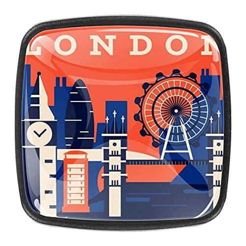 (4 piezas) pomos de cajón para cajones, tiradores de cristal, para gabinete, hogar, oficina, armario, abstracto, retro, horizonte de Londres, 35 mm