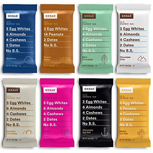 RXBAR Variety Pack, Protein Bar, Gluten Free, High Protein Snack 1.83 Ounce (Pack Of 12) In Sanisco Packaging