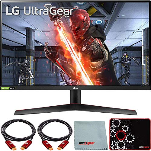 LG 27GN800-B 27 inch Ultragear QHD IPS 144Hz 16:9 G-SYNC HDR Monitor Bundle with Deco Gear HDMI Cable 2 Pack + Gamer Surface Mousepad + Screen Cloth