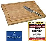 VilleroyBoch Schneidebrett Küchenbrett Zubereitungsbrett Tranchierunterlage Bambus mit Saftrille Schneidunterlage Schneidbrett Gemüse inkl. Santokukochmesser im Set 39.5 x 26 x 2cm
