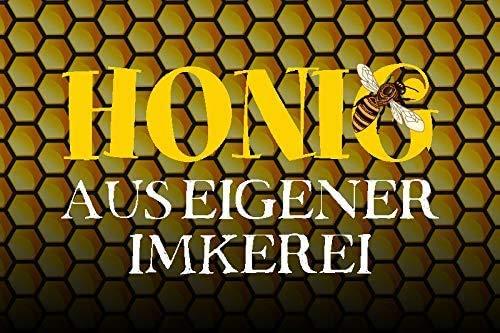 NWFS honing uit eigen imkerij honingraat metalen bord bord metaal tin teken gebogen gelakt 20 x 30 cm