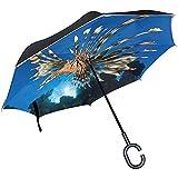 Paraguas inverso Lionfish El Mejor Paraguas invertido Reversible para Golf Car Travel Rain Outdoor Black