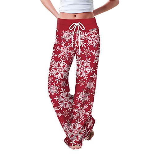 Binchil Jogging Pants Women's Christmas Floral Casual Elastic Drawstring Straight Wide Leg Pants Sports Pants Red Snowflake M