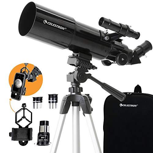 Celestron - 80mm Travel Scope - Portable Refractor Telescope - Fully-Coated Glass Optics - Ideal Telescope for Beginners - Bonus Astronomy Software Package - Digiscoping Smartphone Adapter