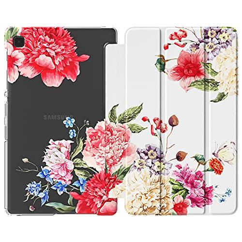 MoKo Funda Compatible con Samsung Galaxy Tab A7 Lite 8.7-Inch 2021 Release Tablet, Delgada Cubierta Estuche Inteligente con Soporte Triple Plegable con PC Trasera Transparente, Flores Flor