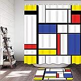 Wdoci Juego de Cortinas de Ducha Antideslizantes para baño,Pintura Moderna Abstracta de patrón Azul en Mondrian Colorida Bauhaus geomét Alfombrilla de baño y Cortina de Ducha Impermeable(180x180cm)