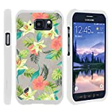 TurtleArmor | Compatible with Samsung Galaxy S6 Active Case | G890 [Slim Duo] Slim Snap On 2 Piece Hard Cover Protector Rubberized Coat on White - Hawaiian Flowers