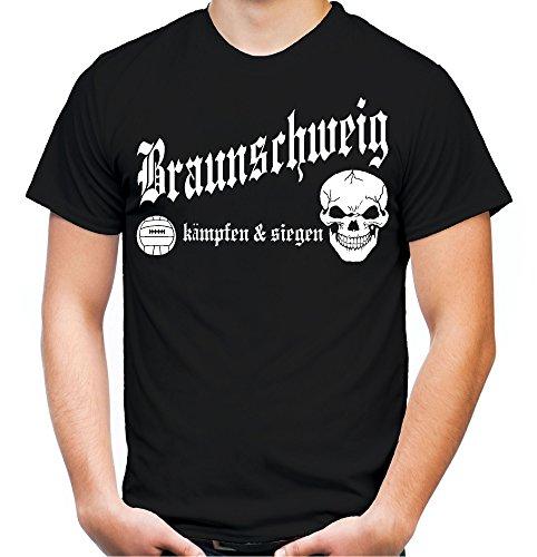 Braunschweig kämpfen & Siegen Männer und Herren T-Shirt | Fussball Ultras Geschenk | M1 (XXL, Schwarz)