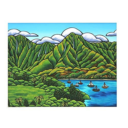 (ヘザーブラウン)HEATHER BROWN アートプリント ART PRINT SAILBOATS AT HANALEI Mサイズ横 W35.6×H28.0cm サイン入り 絵画 HB9446P