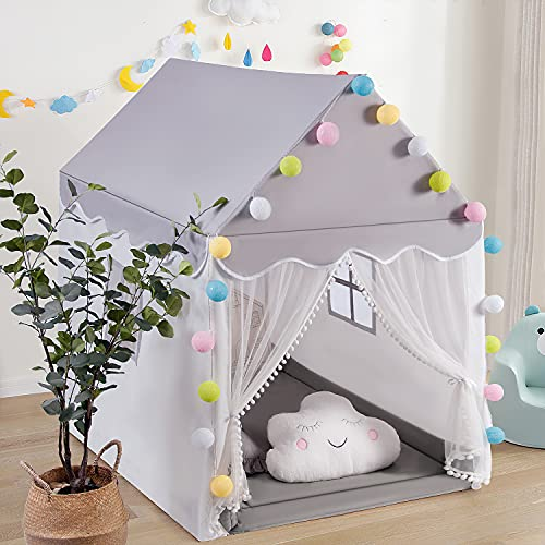 Kids Play Tent, Large Playhouse Castle Fairy Play Tent for Kids with LED Snowflake Lights Gift for Girls Boys