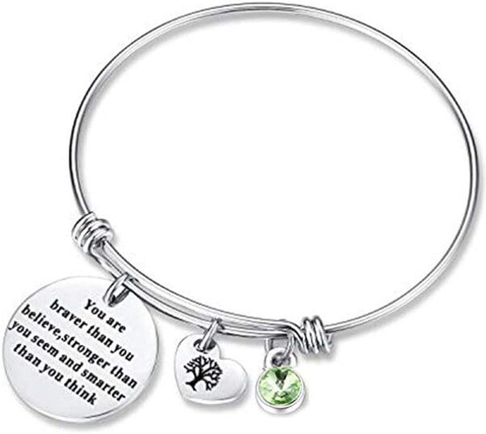 Jude Jewelers Stainless Steel Inspirational Mantra Adjustable Tree of Life Charm Birthstone Graduation Bangle Bracelet