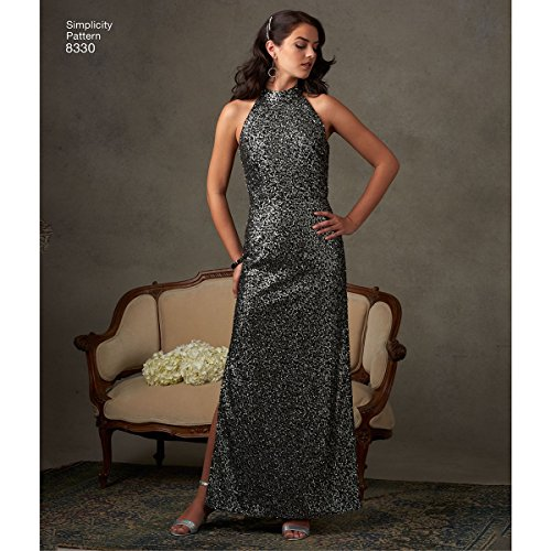 Simplicity Pattern 12–14–16–18–Patrones de Costura para Vestidos patrón de Costura Vestido con Falda y variaciones de Espalda, Color Blanco
