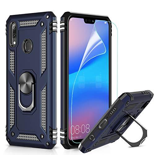 LeYi Hülle Huawei P20 Lite Handyhülle,360 Grad Drehbar Ringhalter Cover TPU Magnetische Bumper Stoßdämpfung Schutzhülle mit HD Folie Schutzfolie für Hülle Huawei P20 Lite Handy Hüllen Dunkelblau