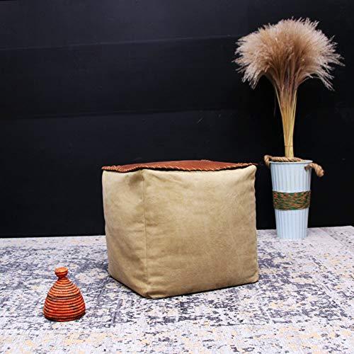 AMYZ Ottoman Pouf Footstool,Canvas Washable Footrest stool Futon cushion Cube Foam filling Sofa stool Bean bag-C 16x16x16in
