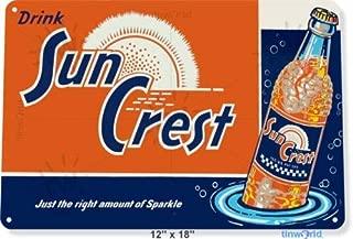 12x16 inch Metal tin Sign TIN Sign Sun Crest Soda Soda Cola Coke Retro Rustic Metal Decor