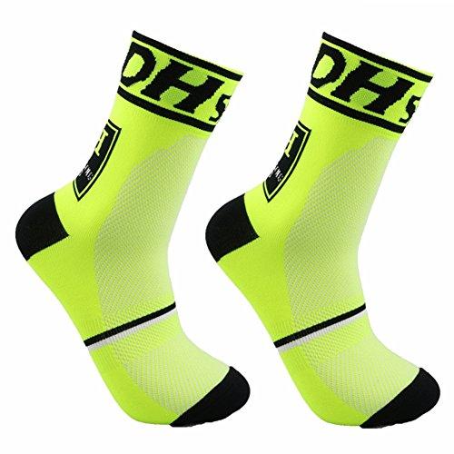 Grofitness Calcetines de compresión para entrenamiento al aire libre, ciclismo, fútbol, correr, hombres y mujeres, calcetines deportivos (1 par verde neón)