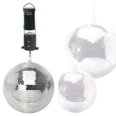 "MP Essentials Branded Lightweight Dance Disco Party DJ Mirror Ball (300mm 12"", Silver + Revolving Motor)"