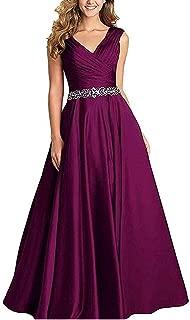 Jonlyc Women's A-Line Sleeveless V-Neck Beaded Long Satin Prom Bridesmaid Dresses